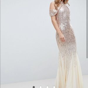 New City Goddess Cut Out Sequin And Chiffon Maxi